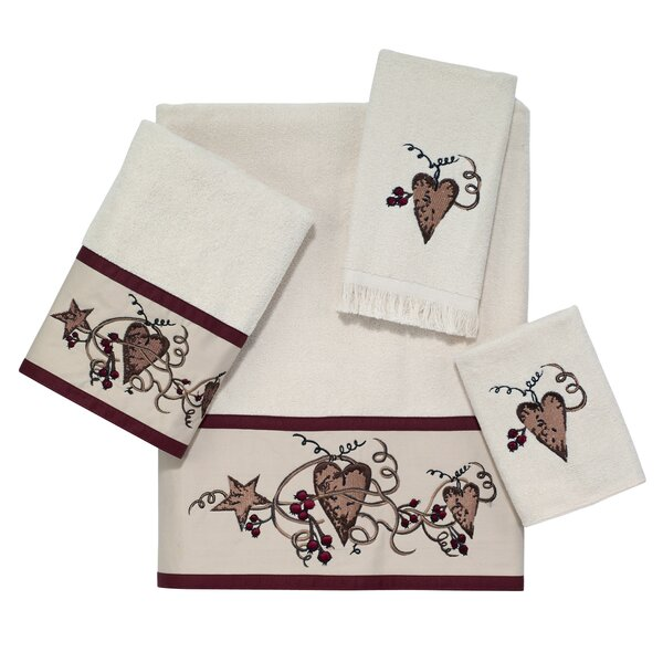 Hearts and Stars 4 Piece 100% Cotton Towel Set by Avanti Linens
